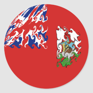 Bermuda Gnarly Flag Round Sticker