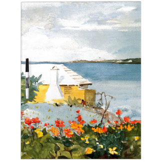 Bermuda Island Flowers Ocean House Dry Erase Board