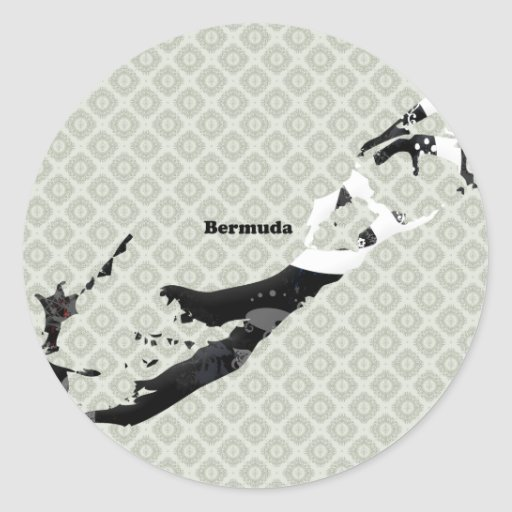 Bermuda Trendy Peace Sign with Bermudian map Round Sticker