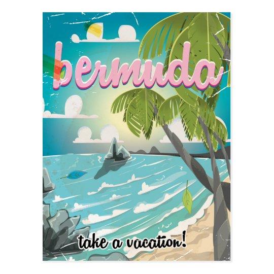 Bermuda vintage travel poster cartoon postcard