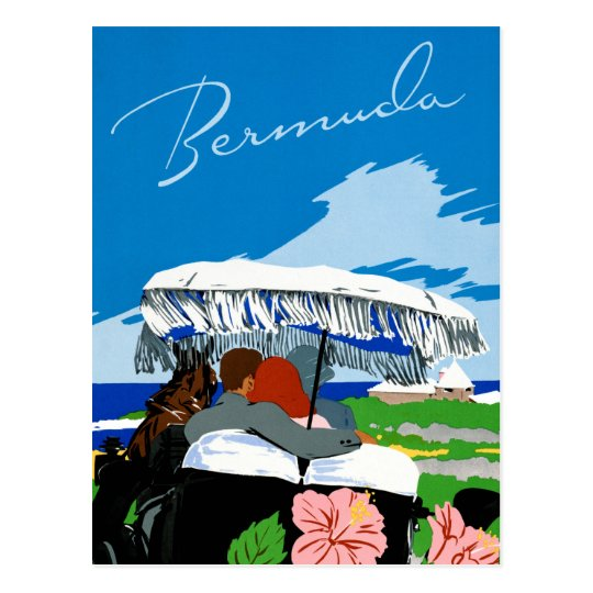 Bermuda Vintage Travel Poster Restored Postcard