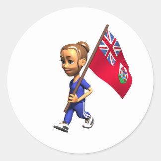 Bermudian Girl Classic Round Sticker