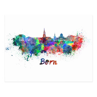 Bern skyline in watercolor postcard