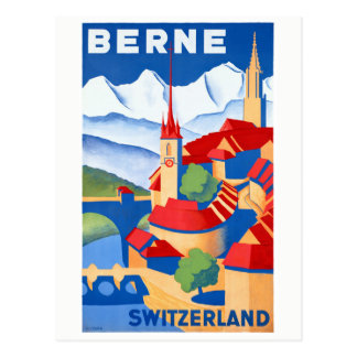 Bern Switzerland Vintage Travel Poster Restored Postcard