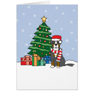 Bernese Mountain Dog and Christmas Tree Card