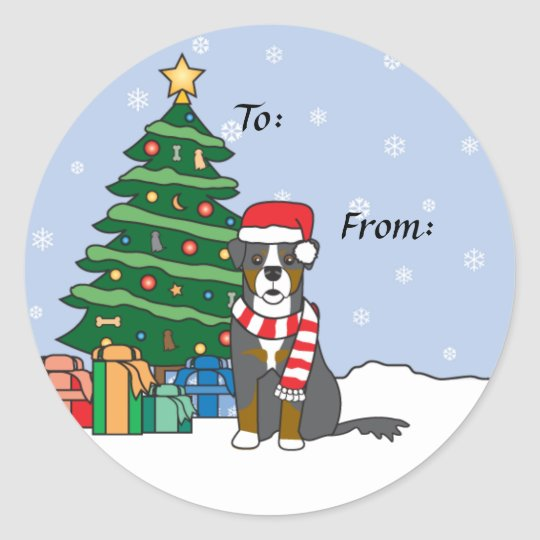 Bernese Mountain Dog and Christmas Tree Classic Round
