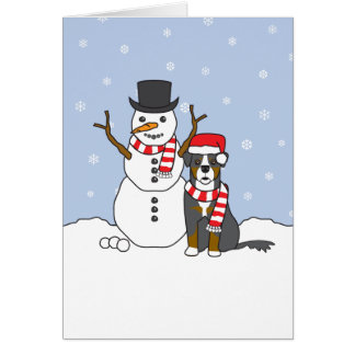 Bernese Mountain Dog and Snowman Card