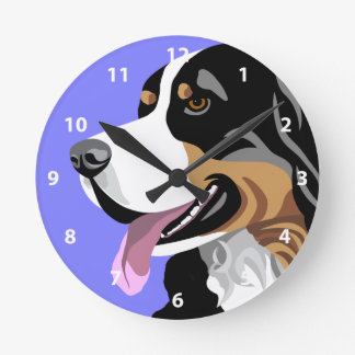 Bernese Mountain Dog Art Gifts Round Clock