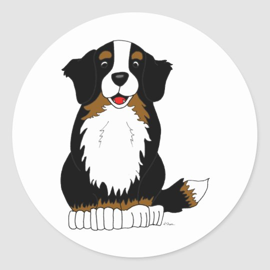 Bernese Mountain Dog Cartoon Classic Round Sticker