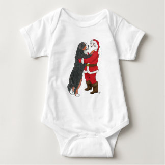Bernese Mountain Dog Christmas Greeting Baby Bodysuit