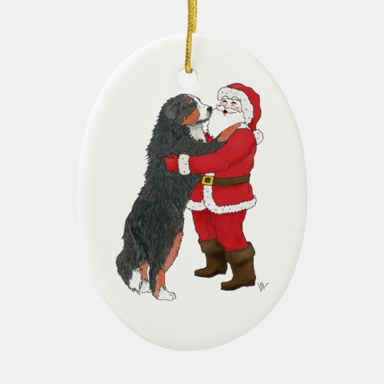 Bernese Mountain Dog Christmas Greeting Christmas Ornament