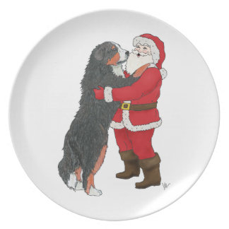Bernese Mountain Dog Christmas Greeting Plate