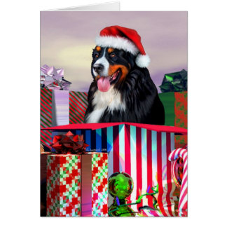 Bernese Mountain Dog Christmas Surprise Card