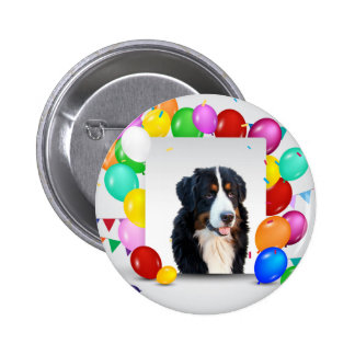 Bernese Mountain Dog Colorful Balloons Birthday 6 Cm Round Badge
