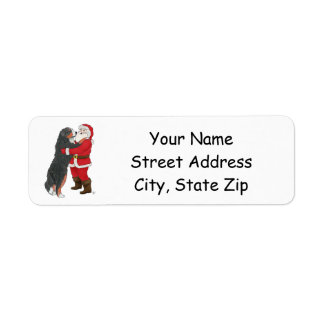 Bernese Mountain Dog Greeting Santa Return Address Label