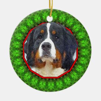 Bernese Mountain Dog Happy Howliday Christmas Ornament