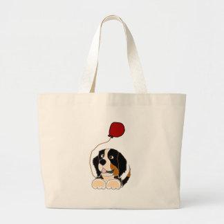 Bernese Mountain Dog Holding Balloon Tote Bag