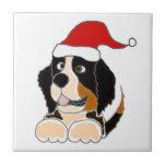 Bernese Mountain Dog in Santa Hat Christmas Art