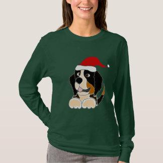 Bernese Mountain Dog in Santa Hat Christmas Art T-Shirt
