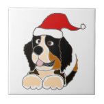 Bernese Mountain Dog in Santa Hat Christmas Art Small Square Tile