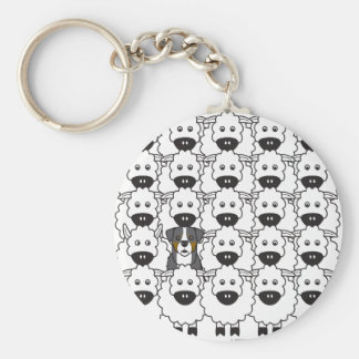 Bernese Mountain Dog in the Sheep Basic Round Button Key Ring