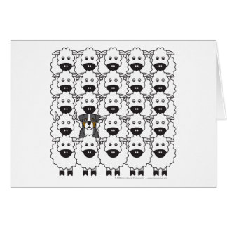 Bernese Mountain Dog in the Sheep Greeting Card