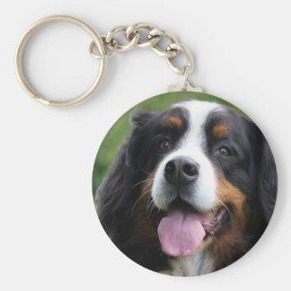 Bernese Mountain dog keychain, gift idea Basic Round Button Key Ring