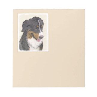 Bernese Mountain Dog Painting - Original Dog Art Notepad