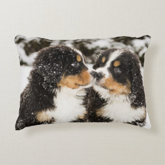 Bernese Mountain Dog Puppets Sniff Each Other Decorative Cushion