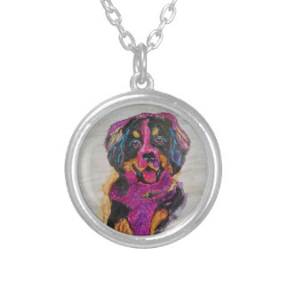 Bernese Mountain Dog puppy Silver Plated Necklace