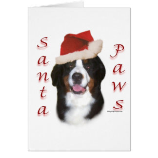 Bernese Mountain Dog Santa Paws Card