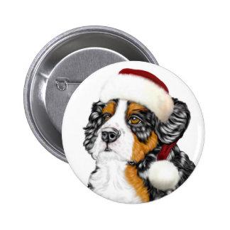 Bernese Mountain Dog Santa Pup Pinback Buttons
