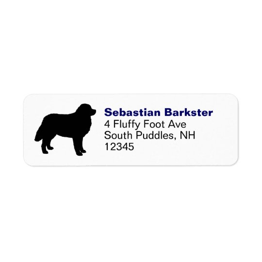 Bernese Mountain Dog Silhouette Return Address Label
