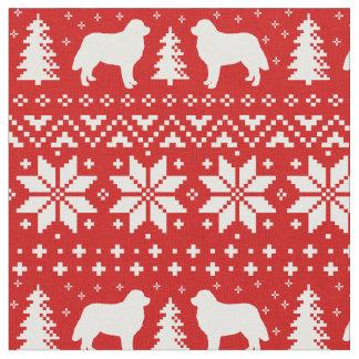Bernese Mountain Dog Silhouettes Christmas Pattern Fabric