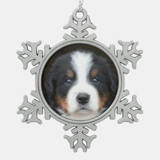 Bernese Mountain Dog Snowflake Pewter Christmas Ornament