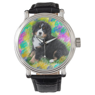 Bernese Mountain Dog Watercolor Art Painting Wrist Watch