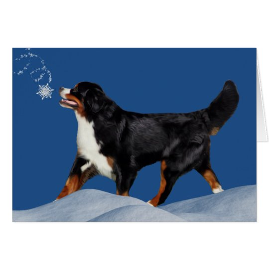Bernese Mountain Dog Winter Holiday Card