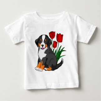 Bernese Mountain dog with tulips Baby T-Shirt
