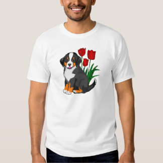 Bernese Mountain dog with tulips T-shirts