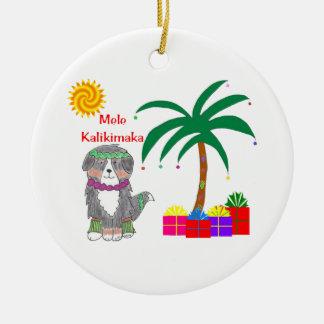 Bernese Mtn Dog Hawaiian Christmas Round Ceramic Decoration