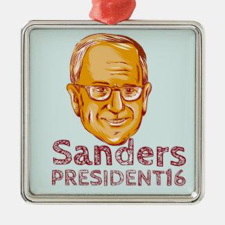 Bernie Sanders President 2016 Silver-Colored Square Decoration