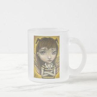 Bernie - the honey bee girl frosted glass coffee mug