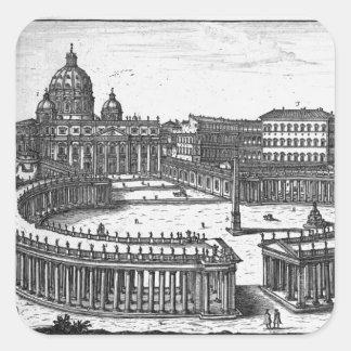 Bernini's original plan for St. Peter's Square Square Sticker