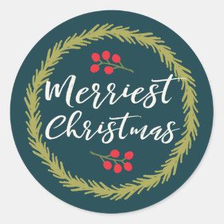 Berries and Pine Merriest Christmas Classic Round Sticker