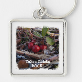 Berries and Twigs; Yukon Chicks ROCK! Silver-Colored Square Key Ring