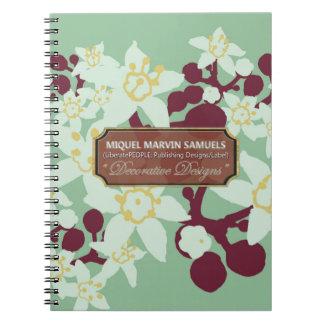 Berries Blossoms Green Decorative Modern Notebook