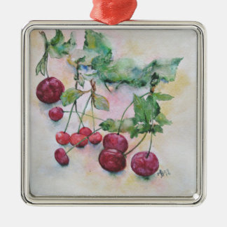 Berries. Cherries and cherry Silver-Colored Square Decoration