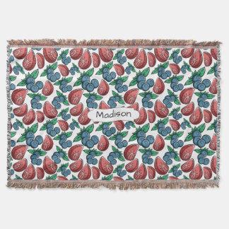 Berries Pattern custom name throw blanket