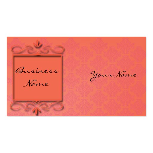 Berry and Papaya Damask Business Card