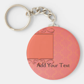 Berry and Papaya Damask Key Ring